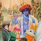 Krishna Handmade Painting Indian Hindu Deity Portrait Oil on Canvas Decor Art