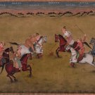 Mughal Emperor Polo Sport Painting Handmade Indian Moghul Empire Miniature Art