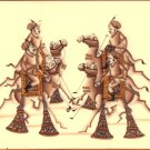 Rajasthan Camel Polo Miniature Painting Handmade India Royal Sport Folk Artwork