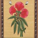 Indian Floral Flower Miniature Painting Moghul Mughal Handmade Watercolor Art