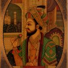 Mughal Emperor Shah Jahan Painting Rare Handmade Antique Finish Watercolor Art