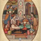 Mughal Indian Miniature Art Handmade Watercolor Mogul Period Harem Folk Painting
