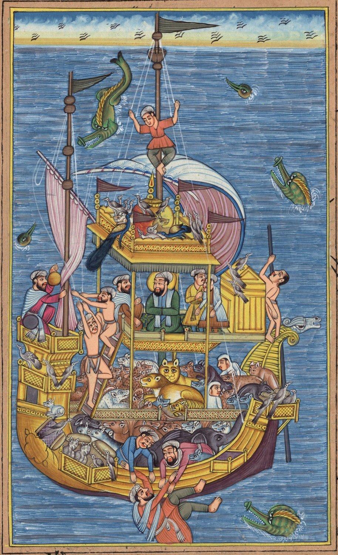 Mughal Miniature Painting Rare Hand-Painted Miskin Akbar Noah�s Ark Moghul Art