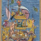 Mughal Miniature Painting Rare Hand-Painted Miskin Akbar Noah's Ark Moghul Art