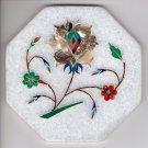 Indian Parchin Kari Marble Inlay Art Handmade 4″ Floral Mosaic Home Decor Art