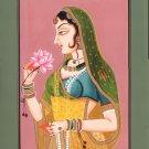 Rajasthani Ethnic Painting Handmade Indian Lady Miniature Folk Watercolor Art