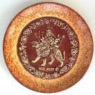 Indian 7″ Terracotta Durga Plate Art Handmade Clay Pottery Home Decor Folk Art