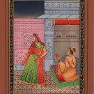 Mughal Miniature Painting Handmade Indian Moghul Period King Queen Romance Art