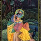 Krishna Radha Ethnic Decor Painting Handmade Hindu Indian Miniature Folk Art
