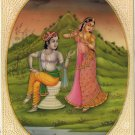 Indian Krishna Radha Painting Handmade Hindu Miniature Modern Decor Ethnic Art