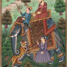 Mughal Empire Royal Hunt Painting Handmade Moghul Miniature Indian Ethnic Art
