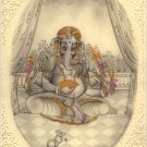 Ganesha Hindu Miniature Painting Handmade Indian Religious Lord Ganesh Decor Art