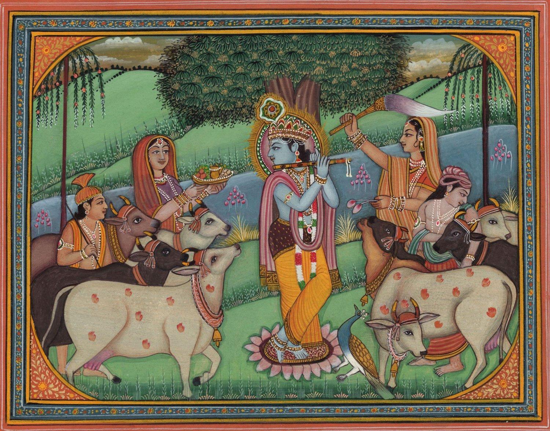 Krishna Gopi Cow Art Handmade Hare Krishn Indian Hindu Folk Religious Painting
