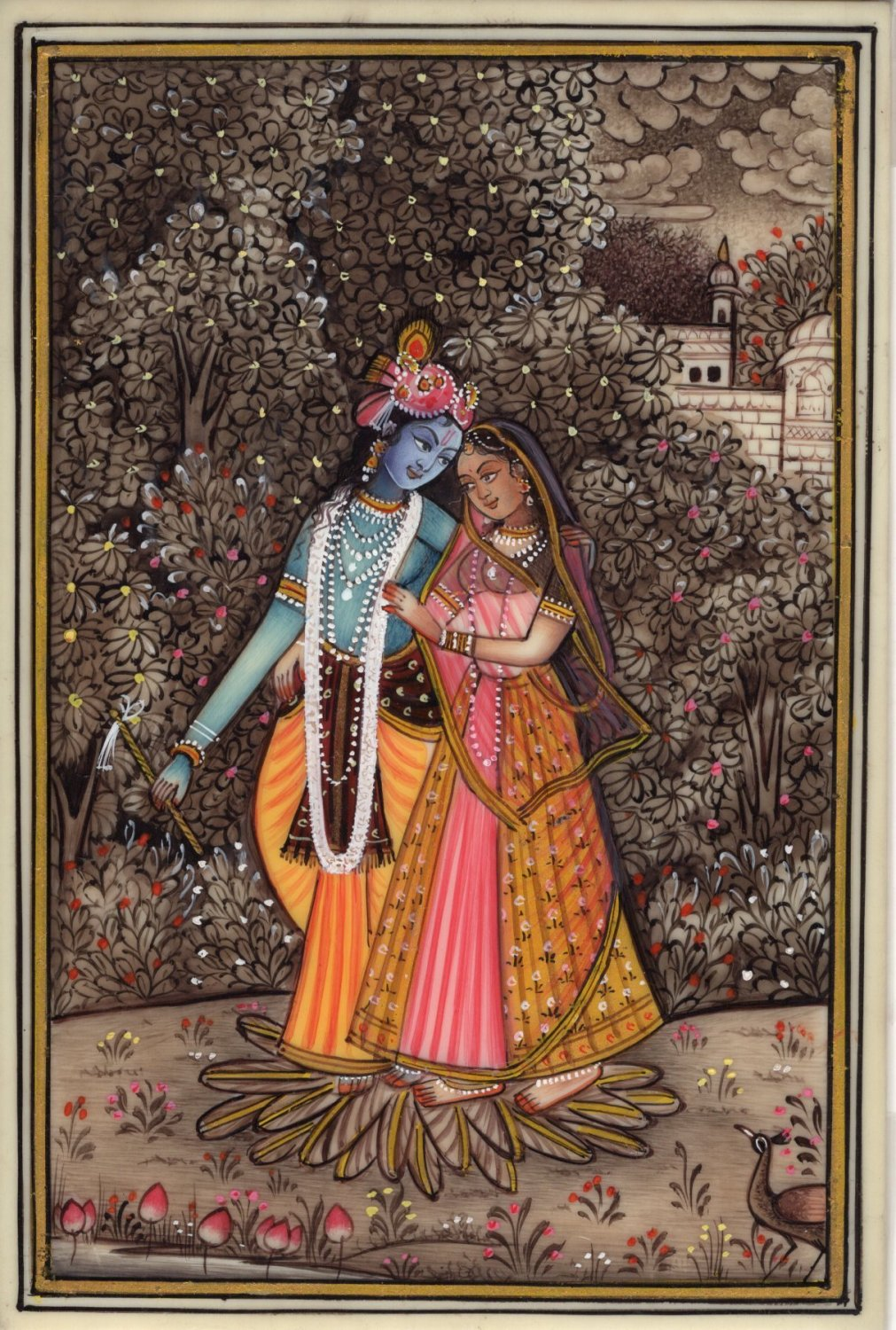 Hindu Miniature Radha Krishna Painting Handmade Indian Religious Home Decor Art