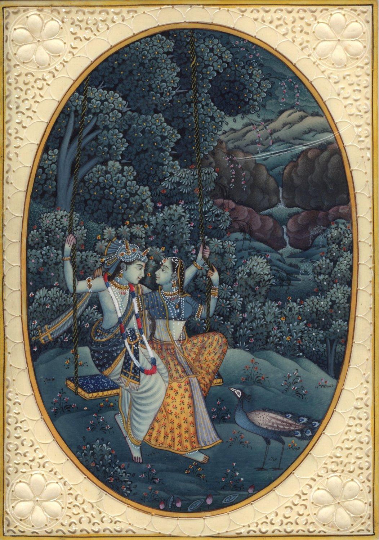 Indian Decor Krishna Radha Painting Handmade Hindu Ethnic Miniature Folk Art