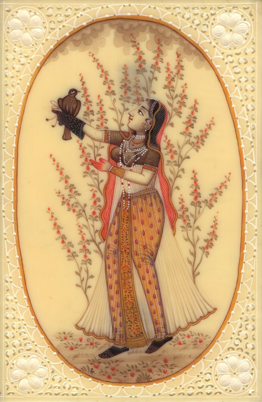 Mughal Empire Miniature Painting Handmade Royal Moghul Princess Falconry Art