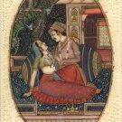 Mogul Empire Indian Miniature Painting Handmade Watercolor Mughal Harem Folk Art