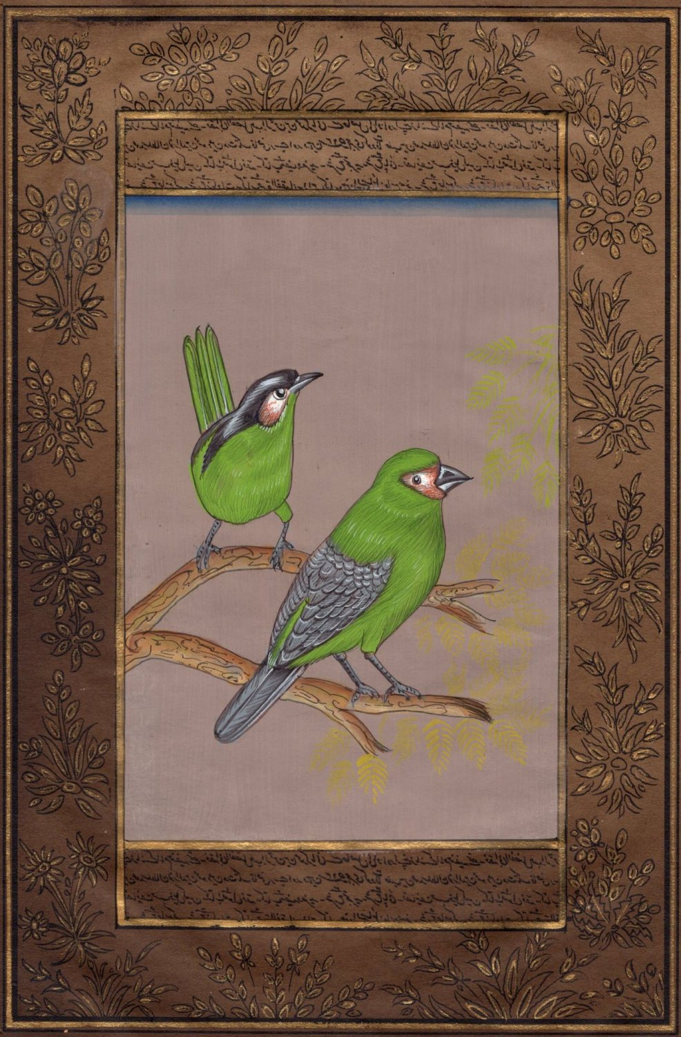 Green Robin Painting Handmade Indian Nature Bird Ornithology Miniature Art