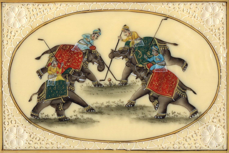 Rajasthani Elephant Polo Miniature Art Handmade Indian Royal Sport Folk Painting
