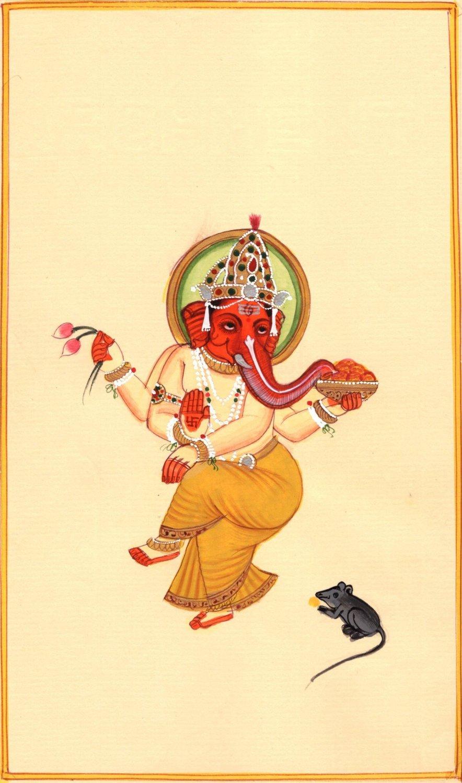 Lord Ganesha Painting Handmade Watercolor Indian God Ganesh Hindu Religion Art