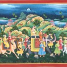 Rajasthani Royal Maharaja Art Handmade Indian Ethnic Folk Procession Painting