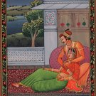 Mughal Miniature Art Handmade Indian Moghul Period King Queen Romance Painting
