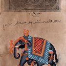 Indian Elephant Miniature Art Handmade Vintage Stamp Paper Ethnic Decor Painting