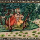 Krishna Radha Kangra Decor Art Handmade Miniature Hindu Deity Drawing Painting