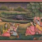 Krishna Radha Gopi Painting Handmade Hare Krishn Indian Hindu Folk Religious Art