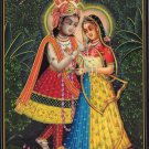 Krishna Radha Indian Decor Painting Handmade Hindu Deity Ethnic Miniature Art