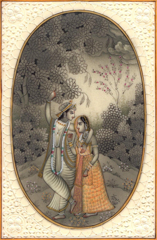 Indian Religious Radha Krishna Painting Handmade Hindu Miniature Home Decor Art