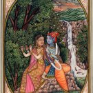 Krishna Radha Hindu Decor Painting Handmade Indian Ethnic Miniature Folk Art