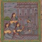 Moghul Miniature Harem Handmade Painting Handmade Mughal Empire Ethnic Artwork