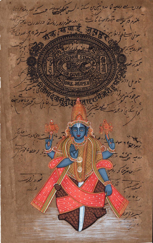 Kurma Vishnu Second Avatar Painting Handmade Indian Hindu Deity Watercolor Art