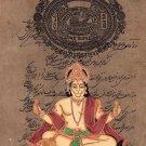 Hanuman Hindu God Painting Handmade Old Stamp Paper India Ramayan Religious Art