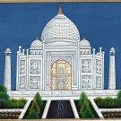 Taj Mahal Indian Painting Handmade Wonder of World Mogul Monument Miniature Art