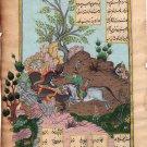 Indo Persian Miniature Painting Shah Nama Mirza Ali Handmade 16c Islamic Artwork