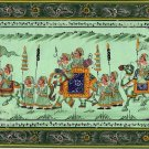India Rajasthan Rajput Royal Procession Silk Painting Handmade Ethnic Folk Art