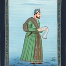 Mughal Empire Nobleman Miniature Painting Hand-Painted India Ethnic Portrait Art