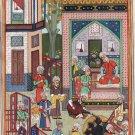 Indo Persian Miniature Art Handmade Mirza Ali Khamsa of Nizami Ethnic Iran Art