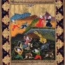 Persian Painting Indo Islamic Illuminated Manuscript Calligraphy Miniature Art