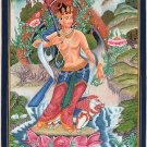 Buddhist Painting Handmade Manjushri Bodhisattva Buddha Indo Tibetan Thangka Art