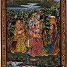 Krishna Radha Ethnic Painting Handmade Indian Hindu Folk Religion Miniature Art