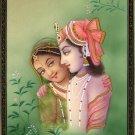 Krishna Radha Indian Decor Art Handmade Hindu Deity Miniature Ethnic Painting