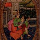 Mughal Miniature Art Handmade Antique Finish Indian Emperor Folk Harem Painting
