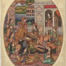 Mughal Miniature Harem Art Handmade Indian Mogul Empire Home Decor Folk Painting