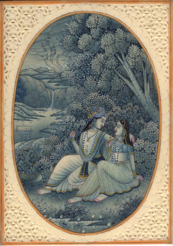 Hindu Miniature Radha Krishna Painting Handmade Indian Religious Home Decor Art
