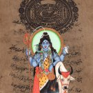 Hindu God Shiva Painting Handmade Old Stamp Paper Indian Religious Shiv Artwork