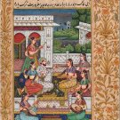Mughal Miniature Painting Handmade Indian Classical Harem Watercolor Folk Art