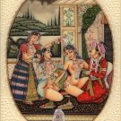 Mughal Miniature Painting Handmade Indian Moghul Empire Erotic Harem Decor Art